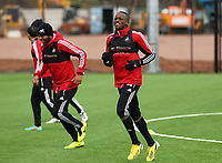 Tuesday 15 January 2013<br /> Pictured: New signing Roland Lamah (R)<br /> Re: Swansea City FC training near the Liberty Stadium ahead of their Cup game against Arsenal at the Emirates Stadium.