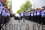 Dan Cournane performing the Haka at Donals request at Donal Walsh's funeral at Saint Johns Church, Tralee on Wednesday.