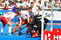 England defenders and goalie George Pinner defend a Malaysian attack during the Hockey World League Semi-Final Pool A match between England and Malaysia at the Olympic Park, London, England on 17 June 2017. Photo by Steve McCarthy.