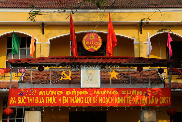 Asia, Vietnam, Hoi An. Hoi An old quarter. Ho Chi Minh is often displayed on posters. The historic buildings, attractive tube houses, and decorated community halls have 1999 earned Hoi An's old quarter the status of a UNESCO World Heritage Site. To protect the old quarter's character stringent conversation laws prohibit alterations to buildings, as well as the presence of cars on the roads.