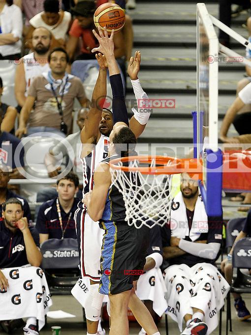 USA's Tyson Chandler (f) and Argentina's Martin Leiva during friendly match.July 22,2012. (ALTERPHOTOS/Acero) /NortePhoto.com*2012-07-22<br /> **CREDITO*OBLIGATORIO** <br /> *No*Venta*A*Terceros*<br /> *No*Sale*So*third*<br /> *** No Se Permite Hacer Archivo**