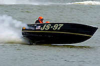 "JS-97 ""Hot Chocolate"", Jersey Speed Skiff..2004 Madison Regatta, Madison, Indiana, July 4, 2004..F. Peirce Williams .photography.P.O.Box 455 Eaton, OH 45320.p: 317.358.7326  e: fpwp@mac.com."