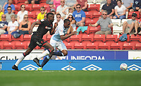 Blackburn Rovers' Amari'i Bell under pressure from Bolton Wanderers' Sammy Ameobi<br /> <br /> Photographer Kevin Barnes/CameraSport<br /> <br /> The EFL Sky Bet Championship - Blackburn Rovers v Bolton Wanderers - Monday 22nd April 2019 - Ewood Park - Blackburn<br /> <br /> World Copyright © 2019 CameraSport. All rights reserved. 43 Linden Ave. Countesthorpe. Leicester. England. LE8 5PG - Tel: +44 (0) 116 277 4147 - admin@camerasport.com - www.camerasport.com