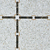 Strap large, a waterjet and hand-cut stone mosaic, shown in honed Calacatta Tia, Emperador Dark, and Jerusalem Gold.