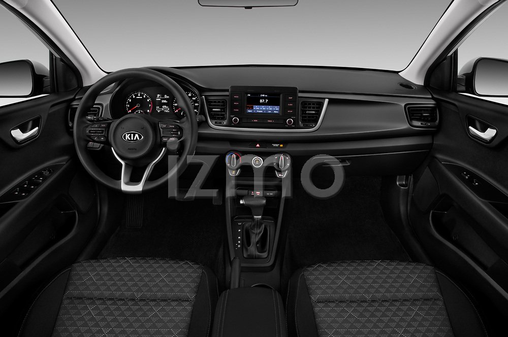 Stock photo of straight dashboard view of a 2018 KIA Rio S 4 Door Sedan