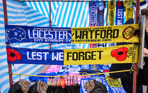 07.11.2015. King Power Stadium, Leicester, England. Barclays Premier League. Leicester versus Watford. Remembrance half and half scarfs.
