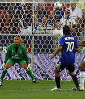 Tim Howard and Cuauhtemoc Blanco in the MLS All Stars v Everton 4-3 Everton win at Rio Tinto Stadium in Sandy, Utah on July 29, 2009