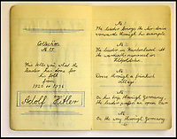 BNPS.co.uk (01202 558833)<br /> Pic: ChalkwellAuctions/BNPS<br /> <br /> The note book has a copy of Hitlers autograph and a meticulous list of every picture.<br /> <br /> Found in a cardboard box...a meticulous account ofthe pre war rise of the cult of Hitler.<br /> <br /> An incredible picture archive that charts the rise of Hitler believed to have been meticulously documented by a fan of the Fuhrer has emerged for sale.<br /> <br /> The collection of propaganda photographs show Adolf Hitler on a charm offensive in the 1920s and 30s - before the evil dictator started the Second World War and eliminated at least five million Jews in the Holocaust.<br /> <br /> Some of the images try to show a softer side to the Nazi leader, with him feeding a small deer and accepting a bouquet from a young girl.<br /> <br /> Others chillingly show the hype created around him - rows of people performing the straight-arm Nazi salute, a young boy beaming as Hitler signs an autograph for him and a group of girls giggling as they chat to the party leader.