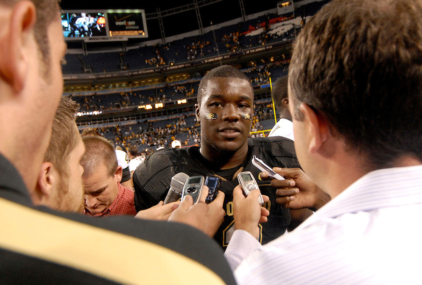 31 Aug 2008: Colorado running back Darrell Scott speaks with reporters after a game against Colorado State. The Colorado Buffaloes defeated the Colorado State Rams 38-17 at Invesco Field at Mile High in Denver, Colorado. FOR EDITORIAL USE ONLY