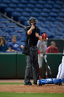 Umpire Louie Krupa calls a strike during a Florida State League game between the Clearwater Threshers and Dunedin Blue Jays on April 4, 2019 at Spectrum Field in Clearwater, Florida.  Dunedin defeated Clearwater 11-1.  (Mike Janes/Four Seam Images)