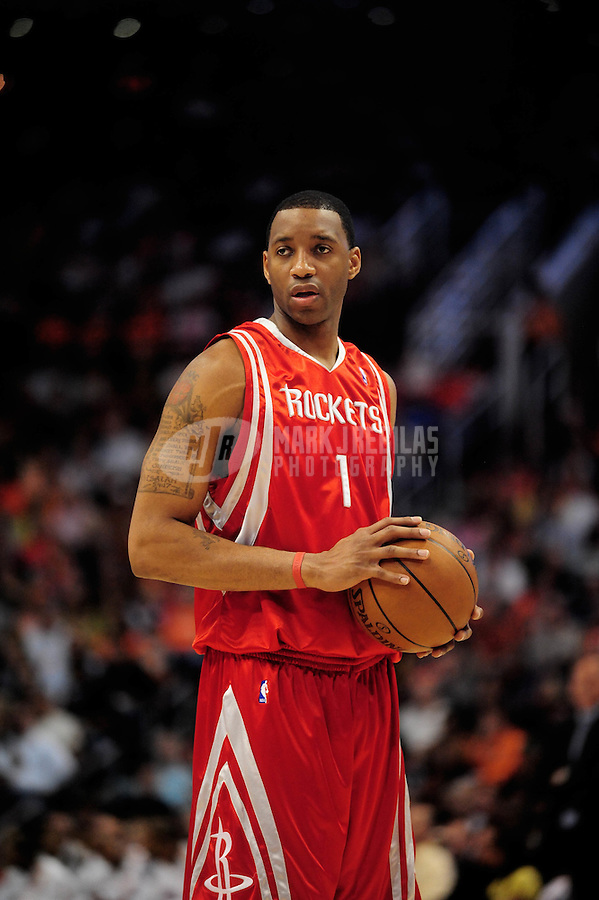 Mar. 22, 2008; Phoenix, AZ, USA; Houston Rockets guard (1) Tracy McGrady against the Phoenix Suns at the US Airways Center. Mandatory Credit: Mark J. Rebilas