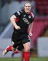 Clyde's Pat Scullion celebrates after he scores Clyde's first goal.