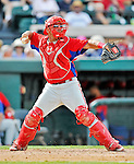 9 March 2012: Philadelphia Phillies catcher Sebastian Valle in action during a Spring Training game against the Detroit Tigers at Joker Marchant Stadium in Lakeland, Florida. The Phillies defeated the Tigers 7-5 in Grapefruit League action. Mandatory Credit: Ed Wolfstein Photo
