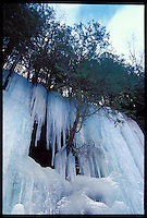 ICE FORMATIONS IN THE PICTURED ROCKS NATIONAL LAKESHORE NEAR MUNISING MICHIGAN.