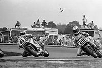 Wayne Rainey, #6 Honda, passes Ricky Graham, #301 Honda, Daytona 200, AMA Superbikes, Daytona International Speedway, Daytona Beach, FL, March 9, 1986.(Photo by Brian Cleary/bcpix.com)