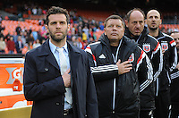 Washington, D.C.- March 29, 2014. D.C. United Head Coach Ben Olsen with coaching staff. D.C. United defeated the New England Revolution 2-0 during a Major League Soccer Match for the 2014 season at RFK Stadium.