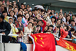SHANGHAI, CHINA - MAY 19:  Chinese fans cheer Liu Xiang of China during the medal ceremony for the Men 110m Hurdles on May 19, 2012 at the Shanghai Stadium in Shanghai, China. Photo by Victor Fraile / The Power of Sport Images