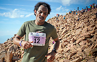 August 19, 2017 - Colorado Springs, Colorado, U.S. -  Eritrea's, Azerya Weldemariam, nears the summit and a sixth place finish in the 62nd running of the Pikes Peak Ascent.  The Ascent is a full half-marathon gaining over 7800 feet in elevation to reach the summit at 14,115 feet.  Mountain runners from around the world converge on Pikes Peak for two days of racing on America's Mountain in Colorado Springs, Colorado.