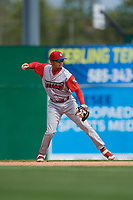 Williamsport Crosscutters second baseman Nicolas Torres (9) throws to first base during a NY-Penn League game against the Batavia Muckdogs on August 27, 2019 at Dwyer Stadium in Batavia, New York.  Williamsport defeated Batavia 11-4.  (Mike Janes/Four Seam Images)