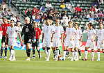29 January 2006: Landon Donovan, captain of the U.S., leads the starters onto the field. He is followed by goalkeeper Kevin Hartman (22) and field players Clint Dempsey (8), Jimmy Conrad (12), Todd Dunivant (3), Josh Wolff (16), Kerry Zavagnin (5), and Pat Noonan (13). The United States Men's National Team defeated their counterparts from Norway 5-0 at the Home Depot Center in Carson, California in a men's international friendly soccer game.