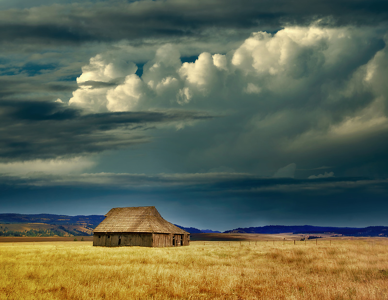 Barn with thunderstrom clouds. Near La Grande, Oregon