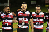 Donald Maka, Sonny Bill Williams and Nathaniel Apa. Mitre 10 Cup rugby game between Counties Manukau Steelers and Taranaki Bulls, played at Navigation Homes Stadium, Pukekohe on Saturday August 10th 2019. Taranaki won the game 34 - 29 after leading 29 - 19 at halftime.<br /> Photo by Richard Spranger.