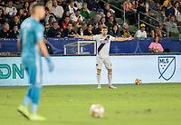 CARSON, CA - SEPTEMBER 21: Dave Romney #4 of the Los Angeles Galaxy asking for the ball during a game between Montreal Impact and Los Angeles Galaxy at Dignity Health Sports Park on September 21, 2019 in Carson, California.