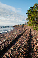 The Lake Superior beach at High Rock Bay on the Keweenaw Peninsula during the 2010 U.P. Overland trip in the Upper Peninsula of Michigan.