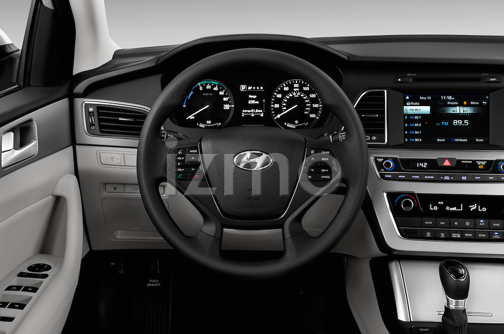 Car pictures of steering wheel view of a 2017 Hyundai Sonata-Hybrid Hybrid 4 Door Sedan Steering Wheel