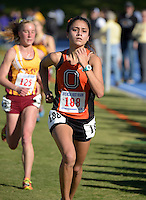 Nov 14, 2015; Claremont, CA, USA; Maya Weigel of Pomona-Pitzer wins the womens race in 21:24 during the 2015 NCAA Division III West Regionals cross country championships at Pomona-Pitzer College. (Freelance photo by Kirby Lee)