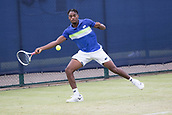 June 13th 2017, Nottingham, England; ATP Aegon Nottingham Open Tennis Tournament day 4;  Darian King of Barbados in action against Bjorn Fratangelo of USA
