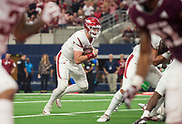 Hawgs Illustrated/Ben Goff<br /> Cole Kelley, Arkansas quarterback, runs in a touchdown in the 2nd quarter vs Texas A&M Saturday, Sept. 29, 2018, during the Southwest Classic at AT&T Stadium in Arlington, Texas.