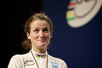 an emotional World Champion Lizzie Armistead (GBR) on the podium<br /> <br /> Elite Women Road Race<br /> UCI Road World Championships Richmond 2015 / USA