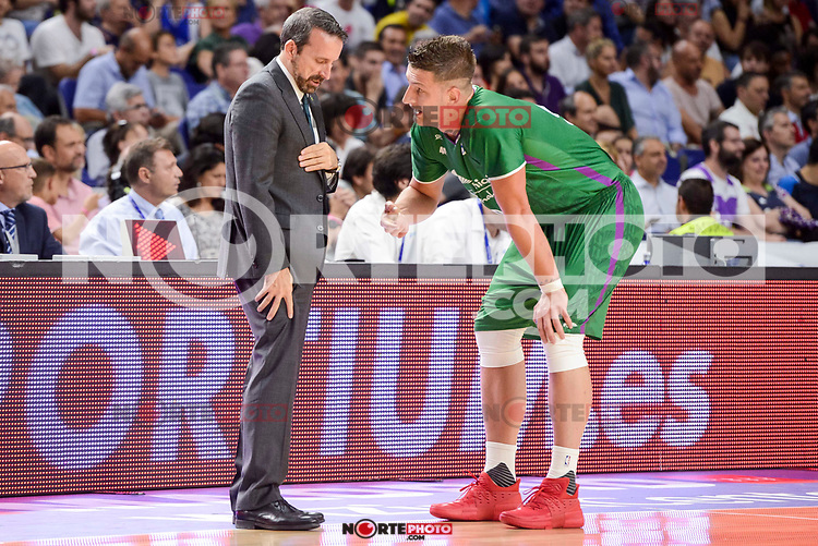 Unicaja Malaga's coach Joan Plaza talking with Alen Omic during semi finals of playoff Liga Endesa match between Real Madrid and Unicaja Malaga at Wizink Center in Madrid, June 02, 2017. Spain.<br /> (ALTERPHOTOS/BorjaB.Hojas) /NortePhoto.com