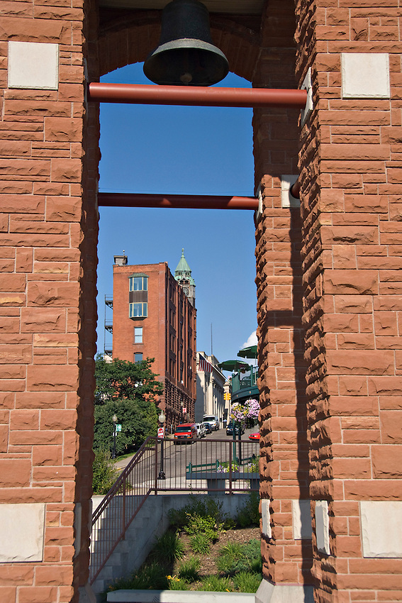 Firefighters memorial and Savings Bank building of downtown Marquette Michigan.