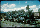 #476 K-28 at Ridgway with roundhouse in background.<br /> RGS  Ridgway, CO