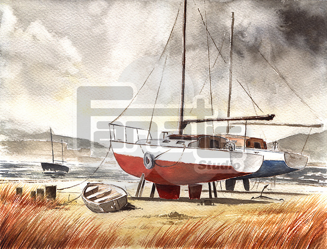 Illustrative image of boats moored at beach
