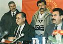 Lebanon 1992 <br /> In Bekaa, Jalal Talabani and Abdalla Ocalan, left, behind, Mullazem Omar Abdallah   <br /> Liban 1992 <br /> Dans la Bekaa, Jalal Talabani et Abdalla Ocalan , derriere a gauche, Mullazem Omar Abdallah
