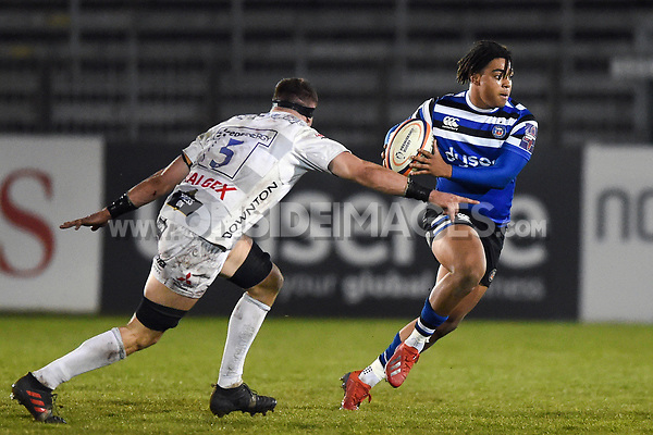 Max Ojomoh of Bath United goes on the attack. Premiership Rugby Shield match, between Bath United and Gloucester United on April 8, 2019 at the Recreation Ground in Bath, England. Photo by: Patrick Khachfe / Onside Images