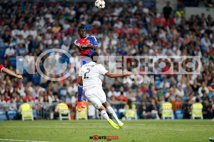 Varane of Real Madrid and of FC Basel 1893 during the Champions League group B soccer match between Real Madrid and FC Basel 1893 at Santiago Bernabeu Stadium in Madrid, Spain. September 16, 2014. (ALTERPHOTOS/Caro Marin) /NortePhoto.com