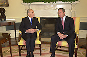 United States President George W. Bush meets Foreign Minister Shimon Peres of Israel in the Oval Office of the White House. on May 3, 2001<br /> Credit: Ron Sachs / CNP