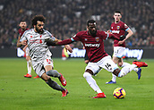 4th February 2019, London Stadium, London, England; EPL Premier League football, West Ham United versus Liverpool; Pedro Obiang of West Ham United clears the ball out with Mohamed Salah of Liverpool marking