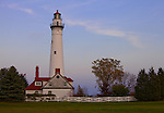 Racine County, Wisconsin<br /> Wind Point Lighthouse (1880) at dusk, Lake Michigan