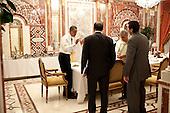Riyadh, Saudi Arabia - June 3, 2009 -- United States President Barack Obama meets with senior staff including NSC Chief of Staff Mark Lippert  and Chief of Staff Rahm Emanuel in Riyadh, Saudi Arabia, Wednesday, June 3, 2009..Mandatory Credit: Pete Souza - White House via CNP