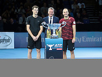 ATP Worls Tour number one Team Jamie Murray (GBR) and Bruno Sobres (BRA)(2) during Day Seven  of the Barclays ATP World Tour Finals 2015 played at The O2 Arena, London on November 19th  2016