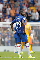 Fikayo Tomori of Chelsea cuts a forlorn figure during the Premier League match between Chelsea and Sheff United at Stamford Bridge, London, England on 31 August 2019. Photo by Carlton Myrie / PRiME Media Images.