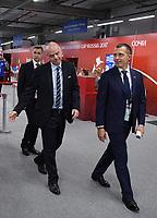 FUSSBALL FIFA Confed Cup 2017 Vorrunde in Sotchi 19.06.2017  Australien - Deutschland  FIFA Praesident Gianni Infantino (li, Schweiz) und  ein Bodyguard