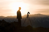 sillouhette of photographer at Dante's View