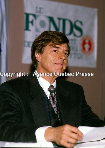 October 1996 File Photo, Claude Blanchet, President, Fond de Solidarite de la FTQ at a news conference.