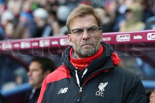 14.02.2016. Villa Park, Birmingham, England. Barclays Premier League. Aston Villa versus Liverpool.<br /> Jurgen Klopp, Liverpool manager in the dugout